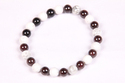 Howlite and Garnet Beaded Rubber Bracelet