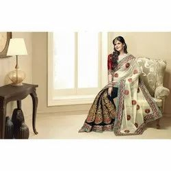 Zari Party Wear Ladies Embroidered Georgette Saree, 6.3 m (with blouse piece)