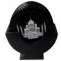 Black Marble Coaster Set With Taj Mahal Design