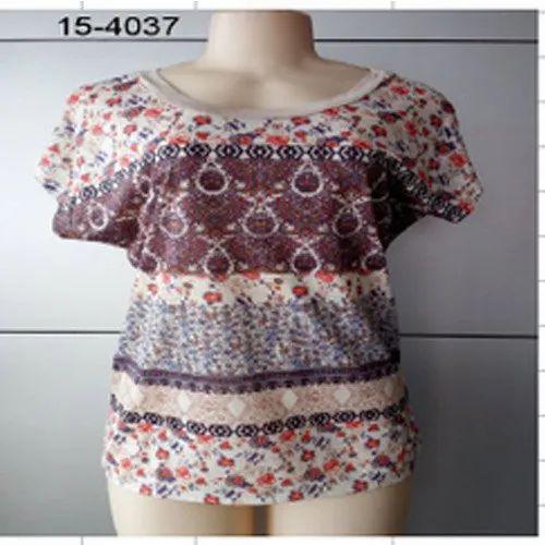 Cotton Round Neck Designer Printed Tops