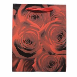 Paper Bags for Return Gifts Weddings and Birthdays Rose Design (Pack of 12) - Red