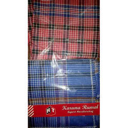 Blue And Red Check 20x20 Inch Cotton Handkerchief