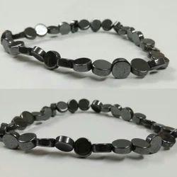 Gunmetal Hematite Coin Rubber Bracelet