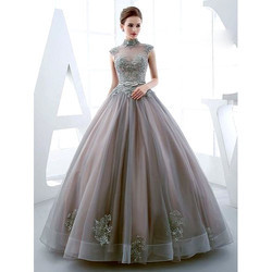 gray embroidered ladies ball gown rs 25000 piece peerless rage
