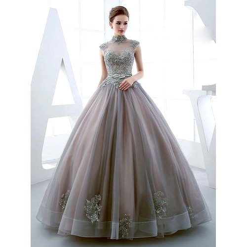 91cf49d5504b Gray Embroidered Ladies Ball Gown