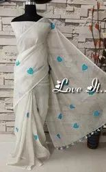 Linen Heart Embroidery Sarees