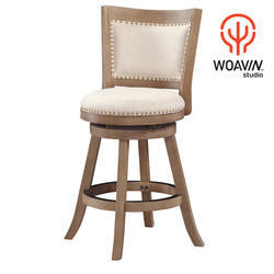 Woavin Studio Wood, Metal, Leather Designer Dining Chair, Size: 40X40X110