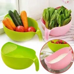 Green,Pink Oval Plastic Fruit And Vegetables Washing Bowl, For Home, Size: Big