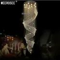 Cylindrical Bronze Modern Double Staircase Long Crystal Led Chandelier