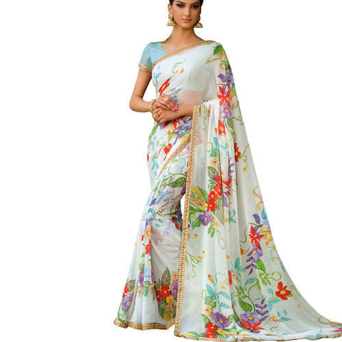 eae17a9b19 Poster Colour Georgette Laxmipati Saree New Rakhi Low Price Offer, With  Blouse Piece