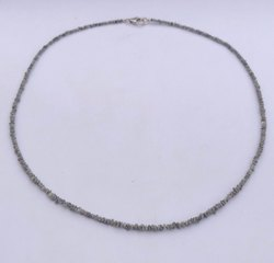Natural Gray Diamond Rough Nugget Chips Beads Necklace With Silver Clasp
