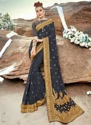 Black Kesari Exports Heavy Embroidered Wedding Wear Sarees with Blouse