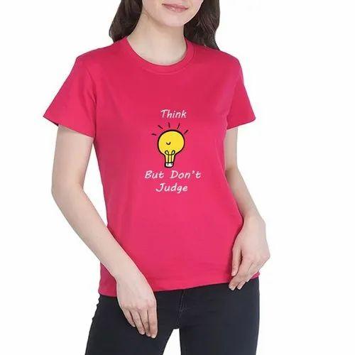 Pure Cotton Ladies Half Sleeve T- Shirt, Size: L