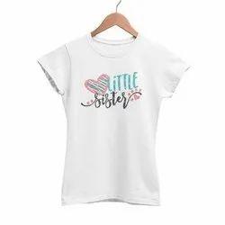 Half Sleeve Round Ladies White Cotton T Shirt