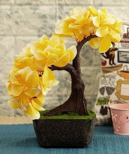 Plastic Artificial Bonsai Plant With Pot for Decoration