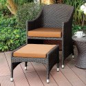 Wicker Conversation Set with Nesting Ottomans