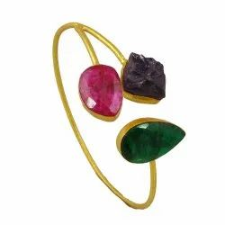 Pear Shape Emerald Ruby Gemstone Gold Plated Cuff Design Bangle