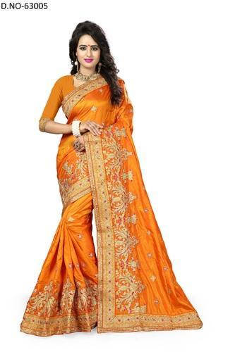 8b6ef85799 Orange Lr Fashion Fancy Crepe Silk Saree With Blouse 63005, Rs 2341 ...