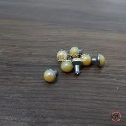 7mm Brass & Stone Dome Pearl Rivets Yellow