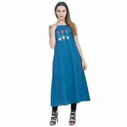 Printed Sleeveless A Line Blue Cotton Kurti, Handwash
