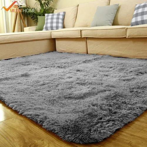 Rectangular Designer Grey Plain Carpet