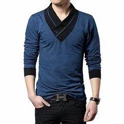 Plain V-Neck Mens Cotton T Shirt