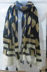 Voile Printed Multi Colur Stoles With Fringes