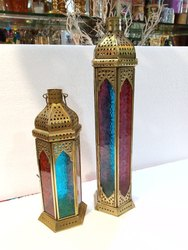 Set of 2 Colored Moroccan Candle Lanterns