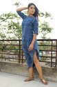 Urban Hippie Summer Day Evening Wear Indigo Hand Print Slit Cut Leg Balloon Stripe Dress