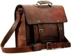 Brown Leather Messenger Bag, Pure Leather: Yes
