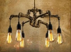 Vintage Retro Pulley Wrought Iron Pendant Light Industrial Lamp