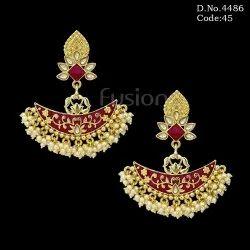 Antique Meenakari Chandbali Earrings