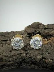 Forever One D-f Color Round Certified Moissanite Stud Earrings, 1.60 Ct