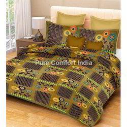 Double Green Sanganeri Bed Sheet