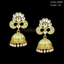 Meenakari Antique Jhumka Earrings