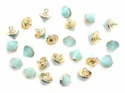 Amazonite Cone Gold Electroplated Pendant