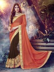 Synthetic Georgette Brown Saree