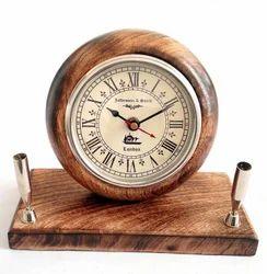 Artshai Brown Designer Table Clock With Pen Stand, Shape: Round