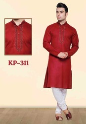 Plain Cotton Kurta Pyjamas For Puja Wedding Ceremonies
