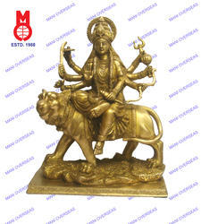 Goddess Durga On Lion Sq. Base Carved Statues