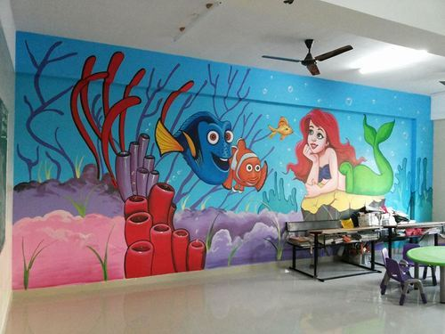 Asian Acrylic Color School Wall Cartoon Painting Services Id