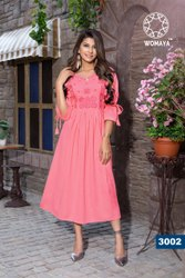 Womaya Rayon Flex Embroidered Kurti