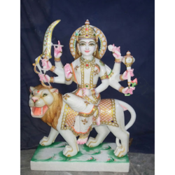Marble Colorful Durga Statue
