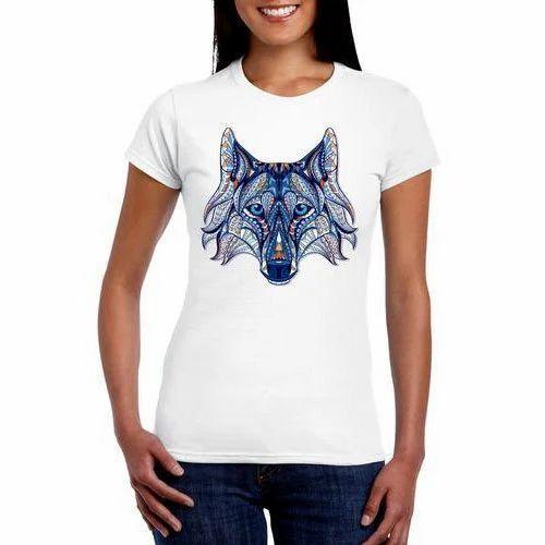 8503439b Half Sleeve White Women Designer T Shirt, Size: S, Rs 100 /piece ...