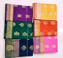 Party Wear Kuppadam Fancy Silk Border Silk Cotton Saree, 6.3 m (with blouse piece)