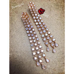 Party Wear Ladies Fancy Rose Gold Polished Artificial Earring