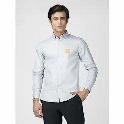 Green Hill Men''s Solid Casual Grey Oxford Shirt