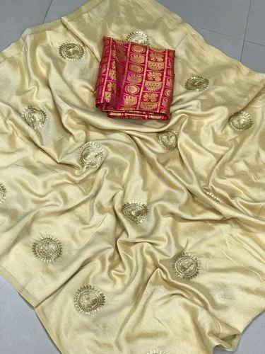 Jacquard Party Wear Vichitra Silk Embroidered Saree