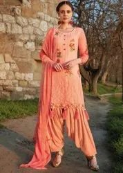 Peach Embroidered Patiala Kameez