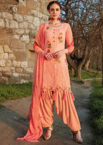 Party Wear Peach Embroidered Patiala Kameez
